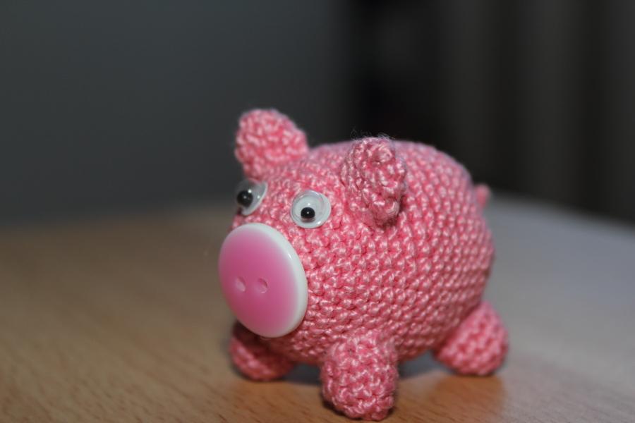 Вязание крючком игрушки свинка 246