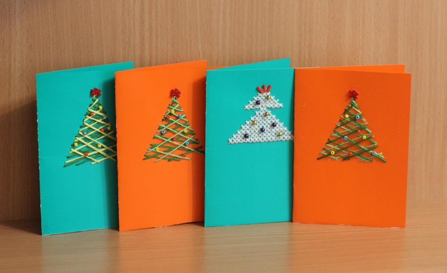 Новогодние открытки из ниток своими руками