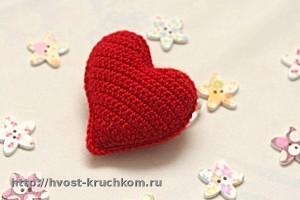 Вязаное крючком асимметричное сердечко